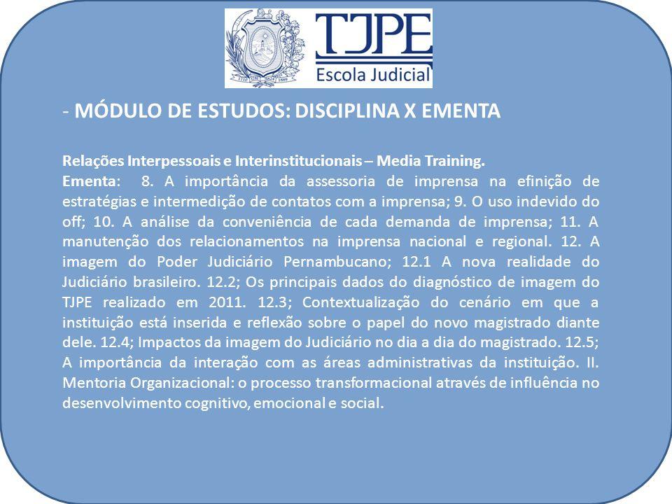 - MÓDULO DE ESTUDOS: DISCIPLINA X EMENTA Relações Interpessoais e Interinstitucionais – Media Training. Ementa: 8. A importância da assessoria de impr