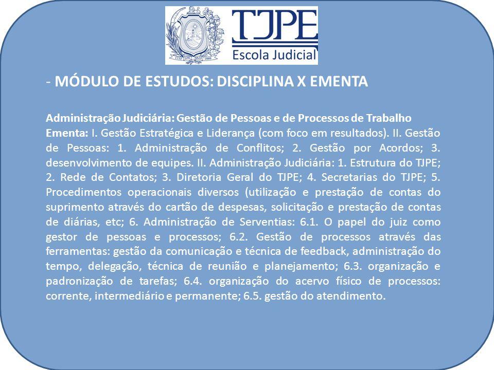 - MÓDULO DE ESTUDOS: DISCIPLINA X EMENTA Administração Judiciária: Gestão de Pessoas e de Processos de Trabalho Ementa: I. Gestão Estratégica e Lidera
