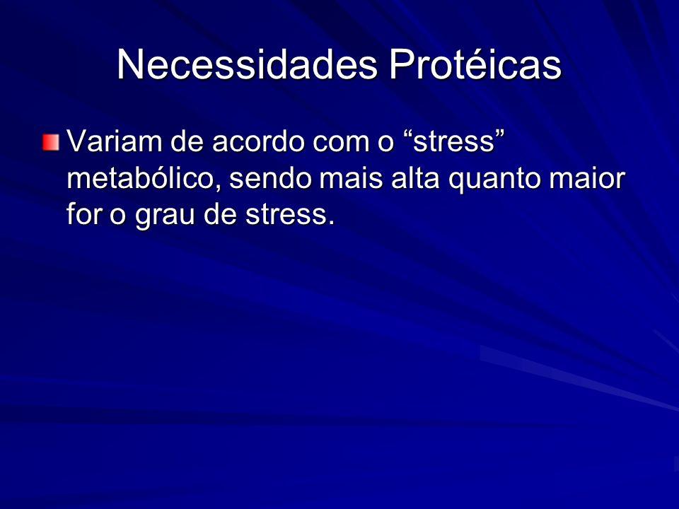 Necessidades Protéicas Variam de acordo com o stress metabólico, sendo mais alta quanto maior for o grau de stress.