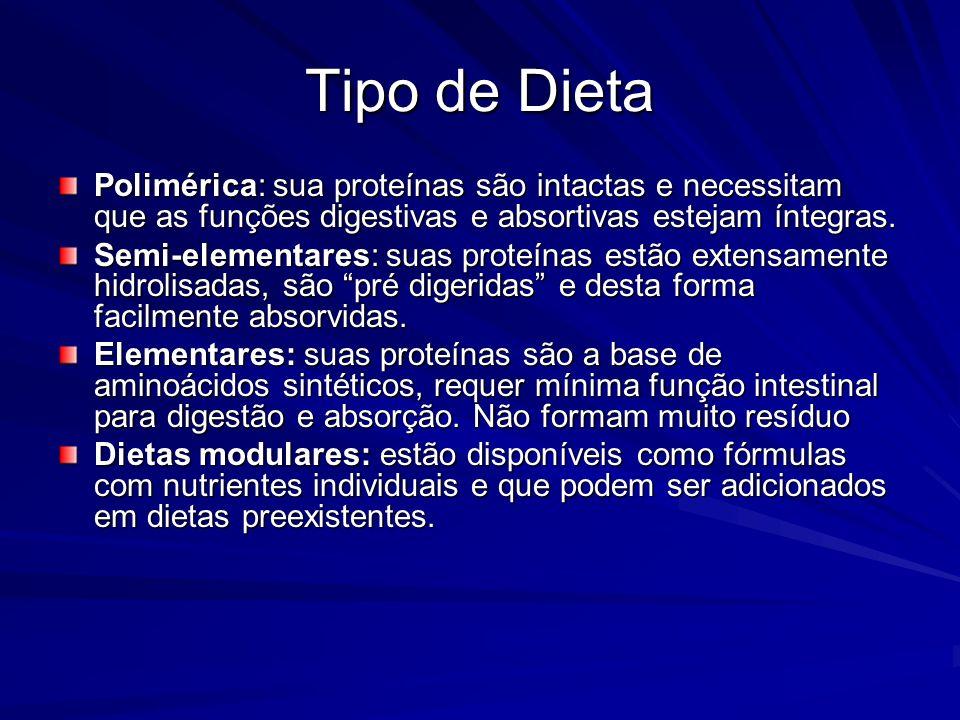 Tipo de Dieta Polimérica: sua proteínas são intactas e necessitam que as funções digestivas e absortivas estejam íntegras. Semi-elementares: suas prot