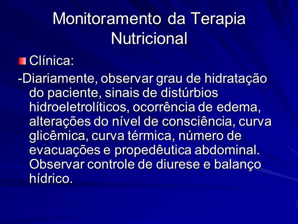 Monitoramento da Terapia Nutricional Clínica: -Diariamente, observar grau de hidratação do paciente, sinais de distúrbios hidroeletrolíticos, ocorrênc