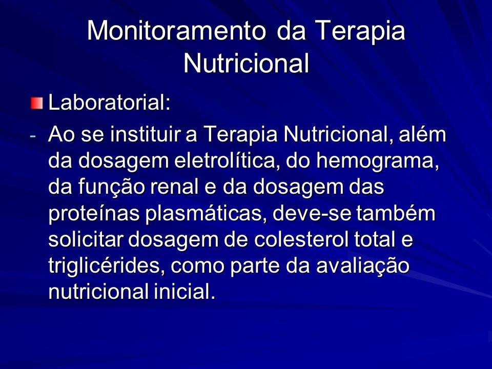 Monitoramento da Terapia Nutricional Laboratorial: - Ao se instituir a Terapia Nutricional, além da dosagem eletrolítica, do hemograma, da função rena