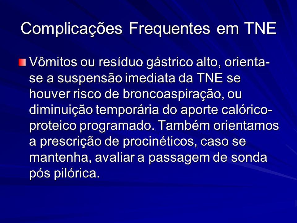 Vômitos ou resíduo gástrico alto, orienta- se a suspensão imediata da TNE se houver risco de broncoaspiração, ou diminuição temporária do aporte calór