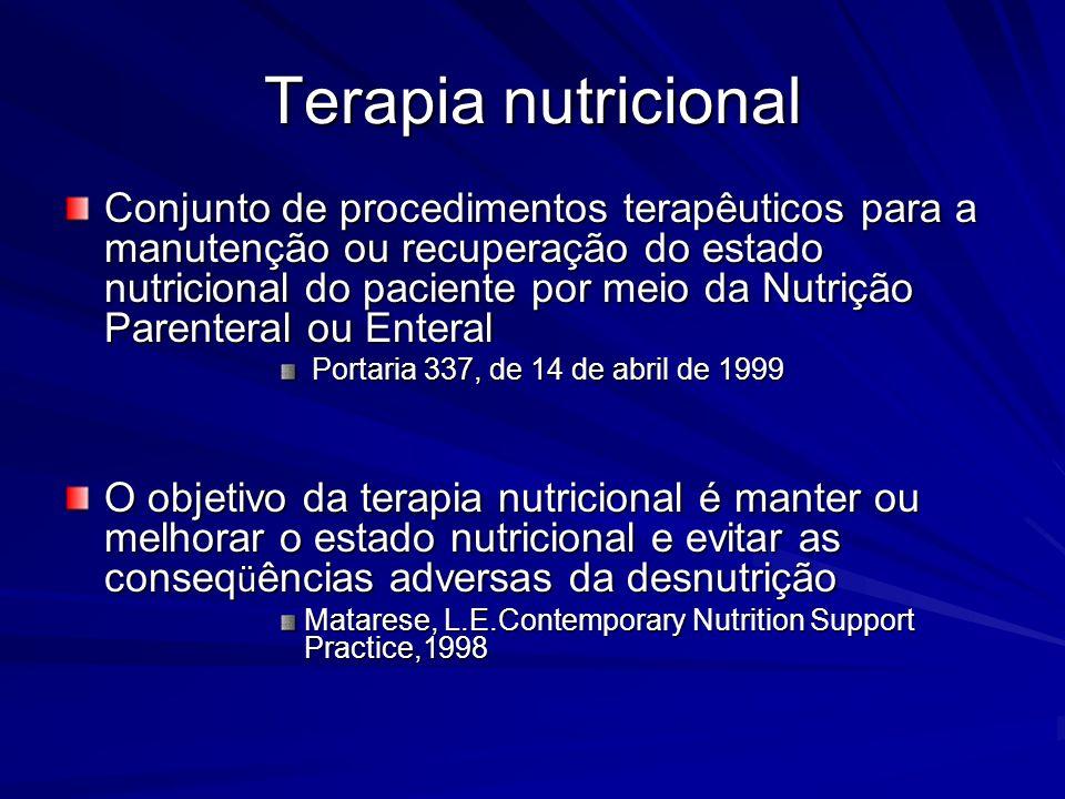 Terapia nutricional Conjunto de procedimentos terapêuticos para a manutenção ou recuperação do estado nutricional do paciente por meio da Nutrição Par