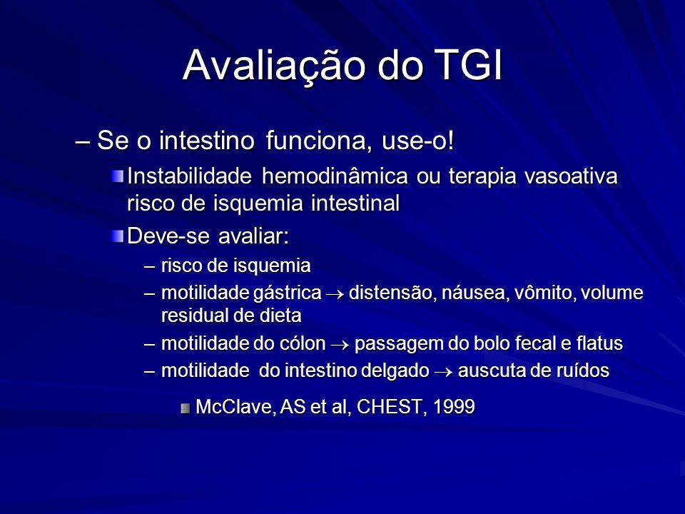 Avaliação do TGI –Se o intestino funciona, use-o! Instabilidade hemodinâmica ou terapia vasoativa risco de isquemia intestinal Deve-se avaliar: –risco