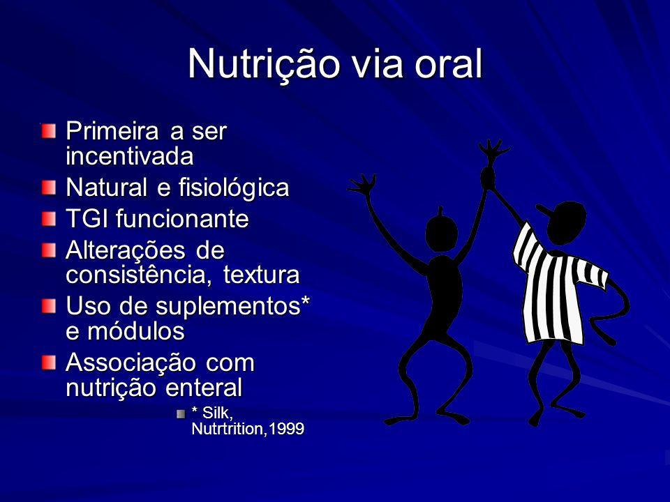 Nutrição via oral Primeira a ser incentivada Natural e fisiológica TGI funcionante Alterações de consistência, textura Uso de suplementos* e módulos A