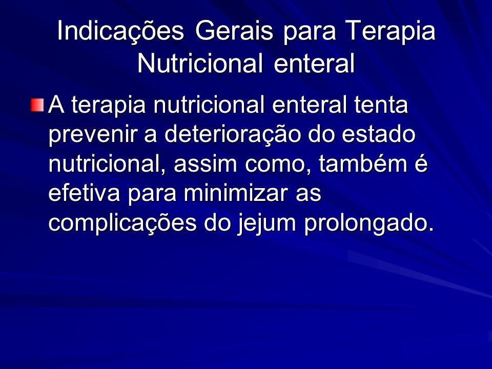 Indicações Gerais para Terapia Nutricional enteral A terapia nutricional enteral tenta prevenir a deterioração do estado nutricional, assim como, tamb