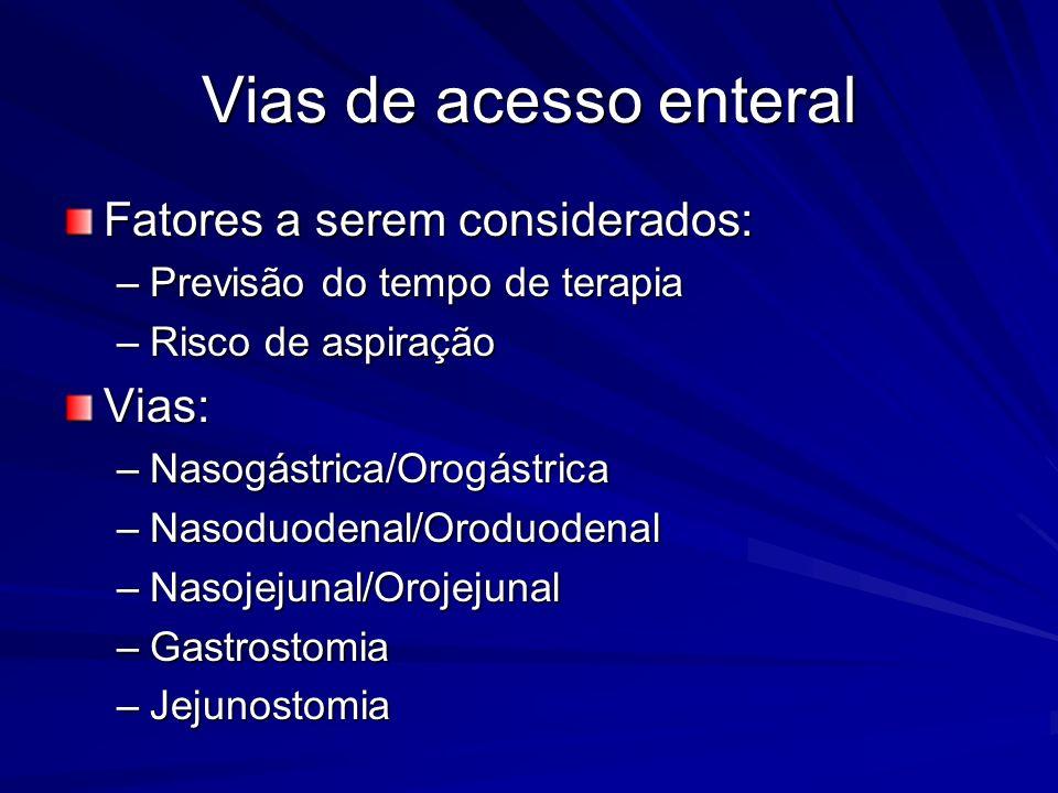 Vias de acesso enteral Fatores a serem considerados: –Previsão do tempo de terapia –Risco de aspiração Vias: –Nasogástrica/Orogástrica –Nasoduodenal/O