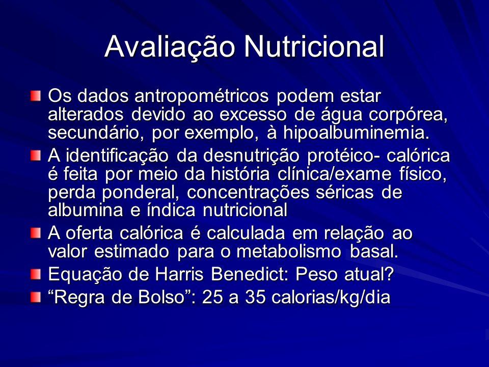 Avaliação Nutricional Os dados antropométricos podem estar alterados devido ao excesso de água corpórea, secundário, por exemplo, à hipoalbuminemia. A