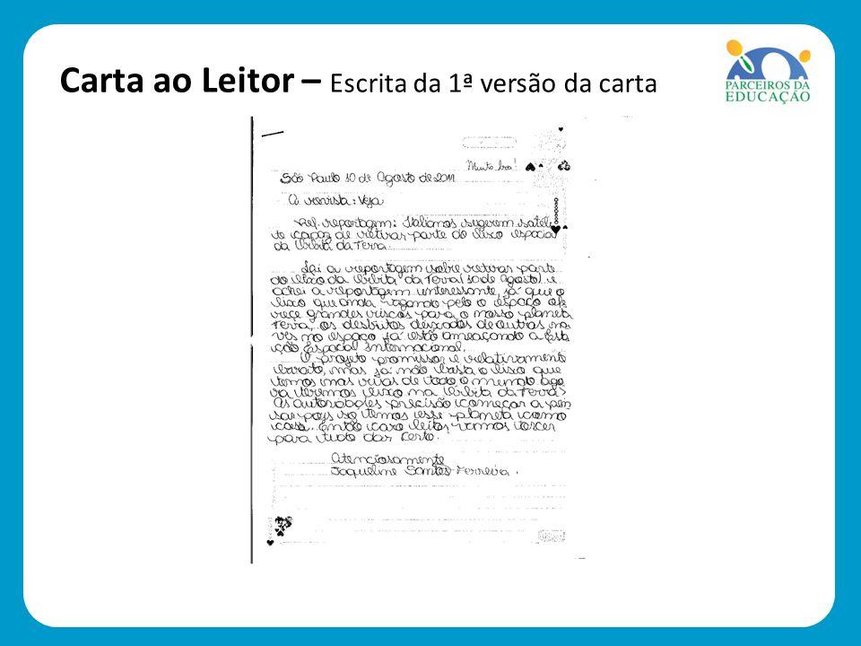 Carta ao Leitor – Escrita da 1ª versão da carta