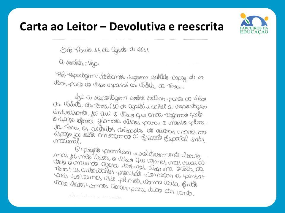 Carta ao Leitor – Devolutiva e reescrita