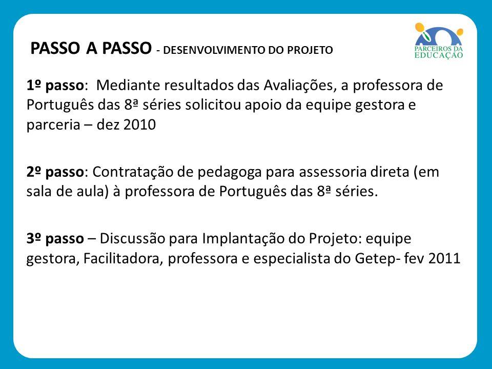 1º passo: Mediante resultados das Avaliações, a professora de Português das 8ª séries solicitou apoio da equipe gestora e parceria – dez 2010 2º passo