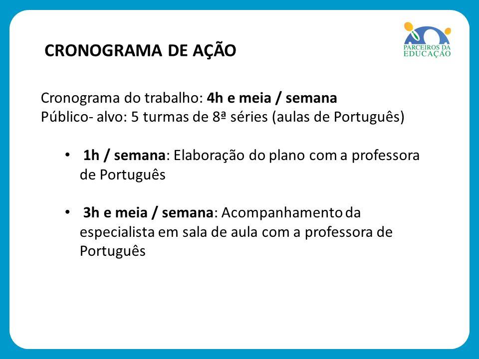 Cronograma do trabalho: 4h e meia / semana Público- alvo: 5 turmas de 8ª séries (aulas de Português) 1h / semana: Elaboração do plano com a professora