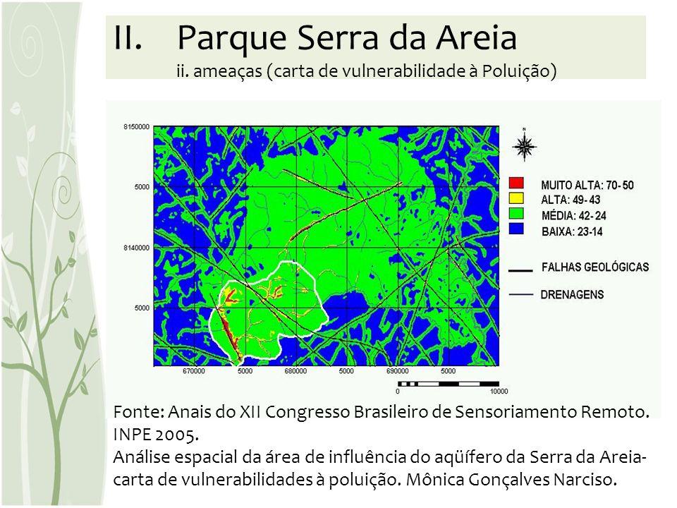 Fonte: Anais do XII Congresso Brasileiro de Sensoriamento Remoto. INPE 2005. Análise espacial da área de influência do aqüífero da Serra da Areia- car