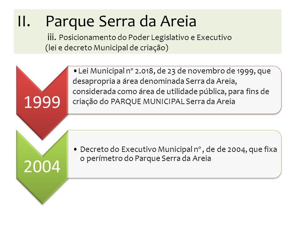 1999 Lei Municipal nº 2.018, de 23 de novembro de 1999, que desapropria a área denominada Serra da Areia, considerada como área de utilidade pública,