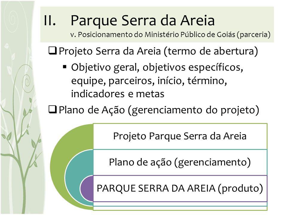 Projeto Serra da Areia (termo de abertura) Objetivo geral, objetivos específicos, equipe, parceiros, início, término, indicadores e metas Plano de Açã