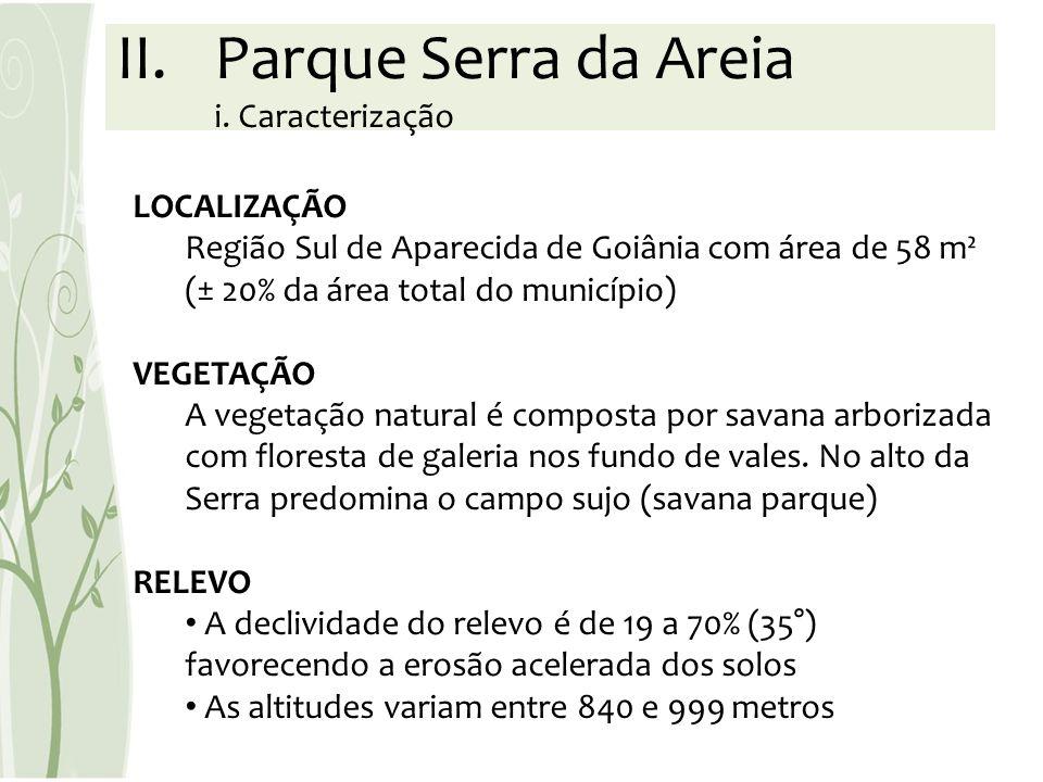 LOCALIZAÇÃO Região Sul de Aparecida de Goiânia com área de 58 m² (± 20% da área total do município) VEGETAÇÃO A vegetação natural é composta por savan