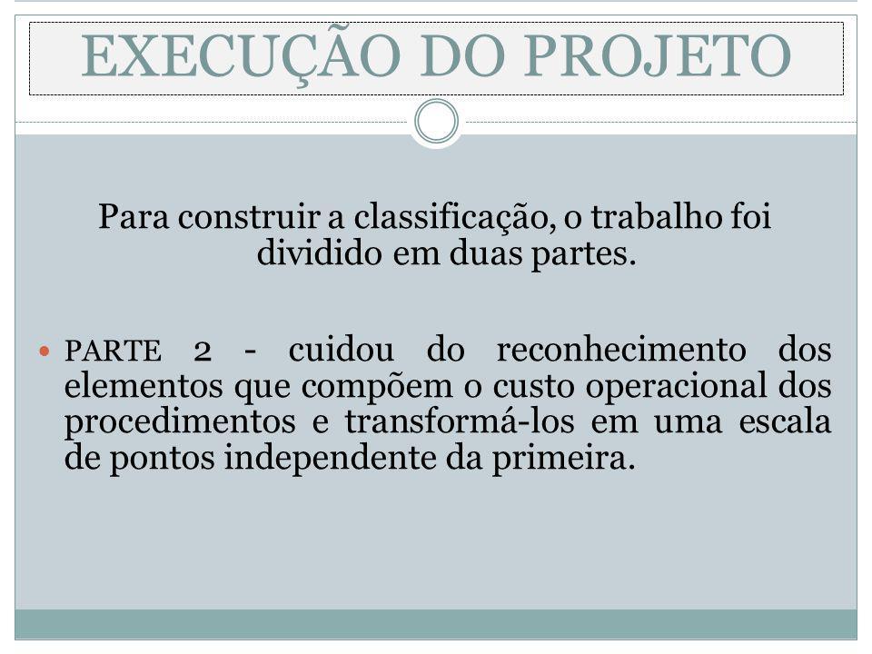 EXECUÇÃO DO PROJETO Para construir a classificação, o trabalho foi dividido em duas partes. PARTE 2 - cuidou do reconhecimento dos elementos que compõ