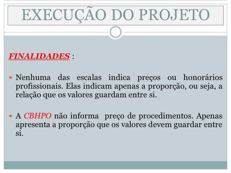 EXECUÇÃO DO PROJETO FINALIDADES : Nenhuma das escalas indica preços ou honorários profissionais. Elas indicam apenas a proporção, ou seja, a relação q