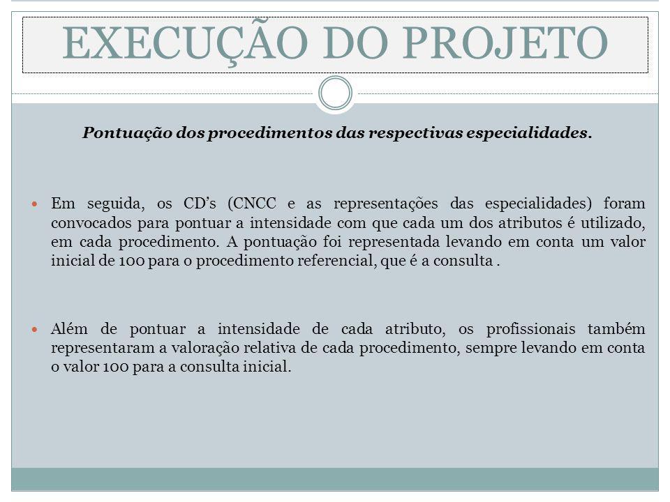 Pontuação dos procedimentos das respectivas especialidades. Em seguida, os CDs (CNCC e as representações das especialidades) foram convocados para pon