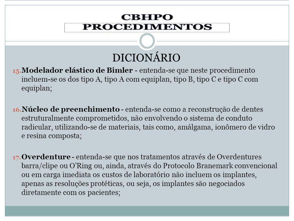 DICIONÁRIO 15. Modelador elástico de Bimler - entenda-se que neste procedimento incluem-se os dos tipo A, tipo A com equiplan, tipo B, tipo C e tipo C