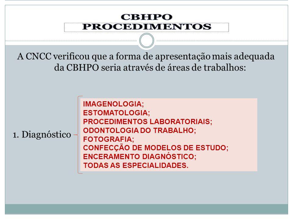 A CNCC verificou que a forma de apresentação mais adequada da CBHPO seria através de áreas de trabalhos: 1. Diagnóstico IMAGENOLOGIA; ESTOMATOLOGIA; P