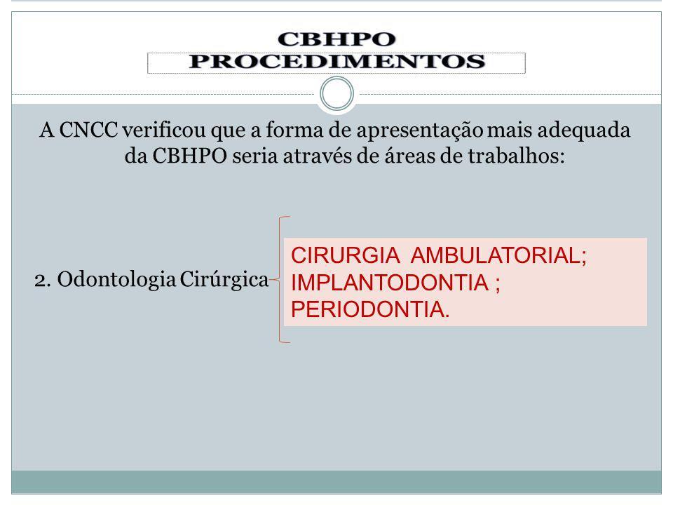 A CNCC verificou que a forma de apresentação mais adequada da CBHPO seria através de áreas de trabalhos: 2. Odontologia Cirúrgica CIRURGIA AMBULATORIA