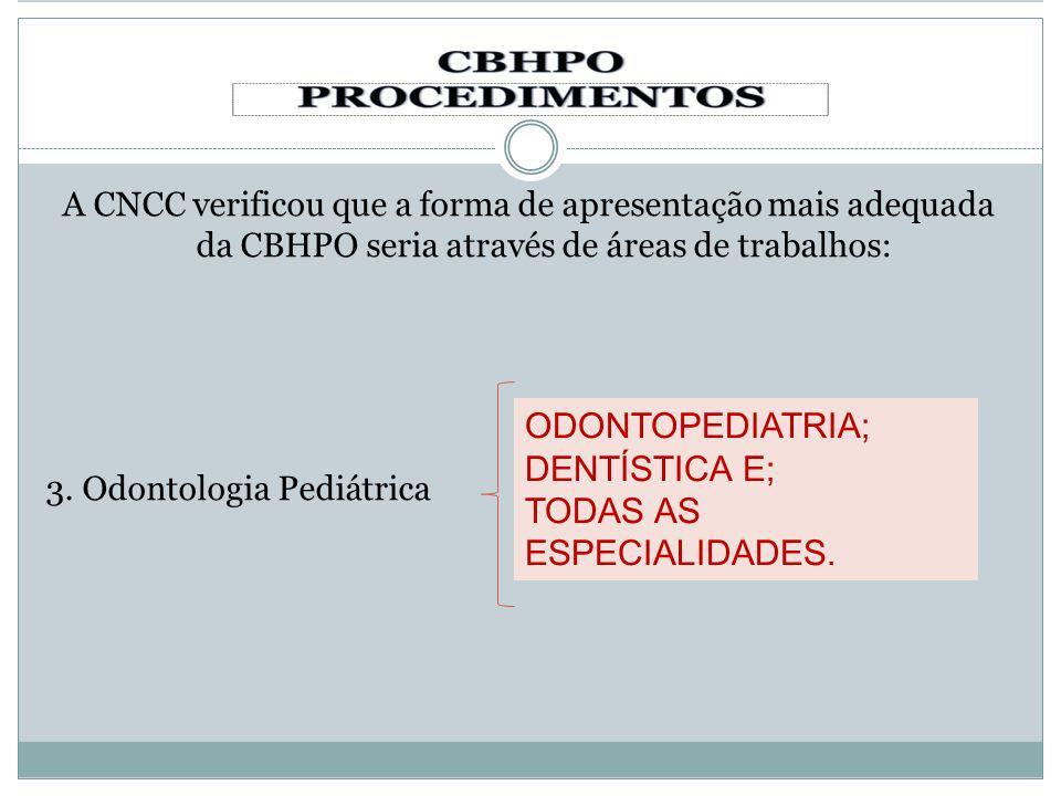 A CNCC verificou que a forma de apresentação mais adequada da CBHPO seria através de áreas de trabalhos: 3. Odontologia Pediátrica ODONTOPEDIATRIA; DE