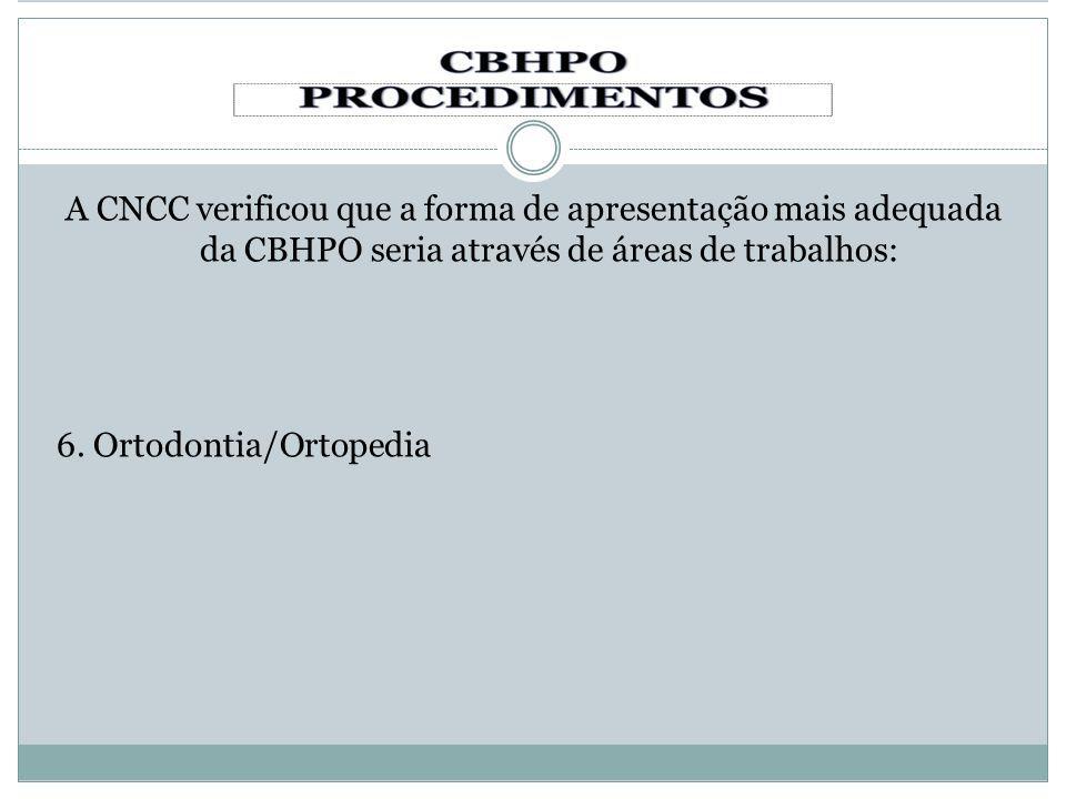 A CNCC verificou que a forma de apresentação mais adequada da CBHPO seria através de áreas de trabalhos: 6. Ortodontia/Ortopedia