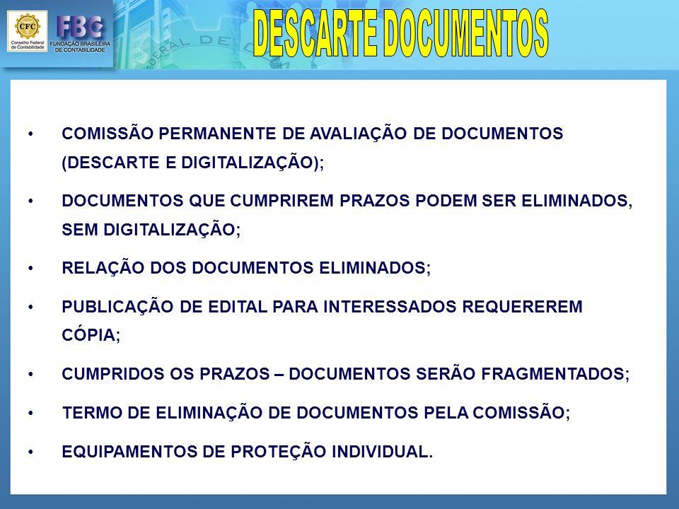 COMISSÃO PERMANENTE DE AVALIAÇÃO DE DOCUMENTOS (DESCARTE E DIGITALIZAÇÃO); DOCUMENTOS QUE CUMPRIREM PRAZOS PODEM SER ELIMINADOS, SEM DIGITALIZAÇÃO; RELAÇÃO DOS DOCUMENTOS ELIMINADOS; PUBLICAÇÃO DE EDITAL PARA INTERESSADOS REQUEREREM CÓPIA; CUMPRIDOS OS PRAZOS – DOCUMENTOS SERÃO FRAGMENTADOS; TERMO DE ELIMINAÇÃO DE DOCUMENTOS PELA COMISSÃO; EQUIPAMENTOS DE PROTEÇÃO INDIVIDUAL.