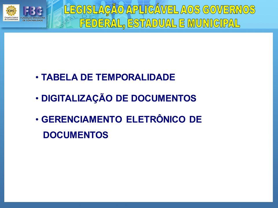 TABELA DE TEMPORALIDADE DIGITALIZAÇÃO DE DOCUMENTOS GERENCIAMENTO ELETRÔNICO DE DOCUMENTOS