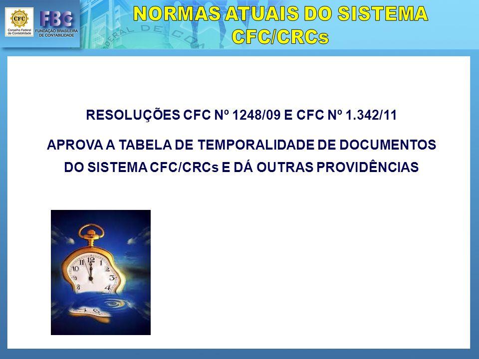 RESOLUÇÕES CFC Nº 1248/09 E CFC Nº 1.342/11 APROVA A TABELA DE TEMPORALIDADE DE DOCUMENTOS DO SISTEMA CFC/CRCs E DÁ OUTRAS PROVIDÊNCIAS