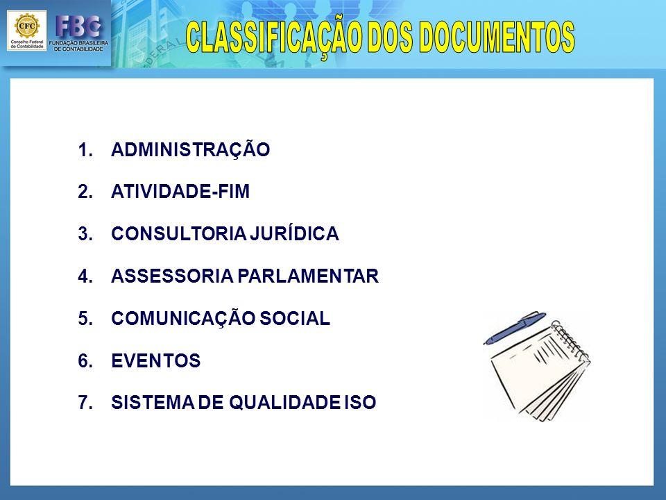 1.ADMINISTRAÇÃO 2.ATIVIDADE-FIM 3.CONSULTORIA JURÍDICA 4.ASSESSORIA PARLAMENTAR 5.COMUNICAÇÃO SOCIAL 6.EVENTOS 7.SISTEMA DE QUALIDADE ISO