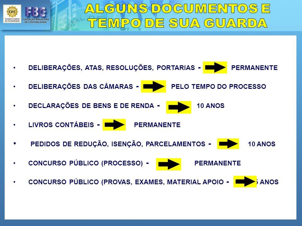 DELIBERAÇÕES, ATAS, RESOLUÇÕES, PORTARIAS - PERMANENTE DELIBERAÇÕES DAS CÂMARAS - PELO TEMPO DO PROCESSO DECLARAÇÕES DE BENS E DE RENDA - 10 ANOS LIVROS CONTÁBEIS - PERMANENTE PEDIDOS DE REDUÇÃO, ISENÇÃO, PARCELAMENTOS - 10 ANOS CONCURSO PÚBLICO (PROCESSO) - PERMANENTE CONCURSO PÚBLICO (PROVAS, EXAMES, MATERIAL APOIO - 5 ANOS