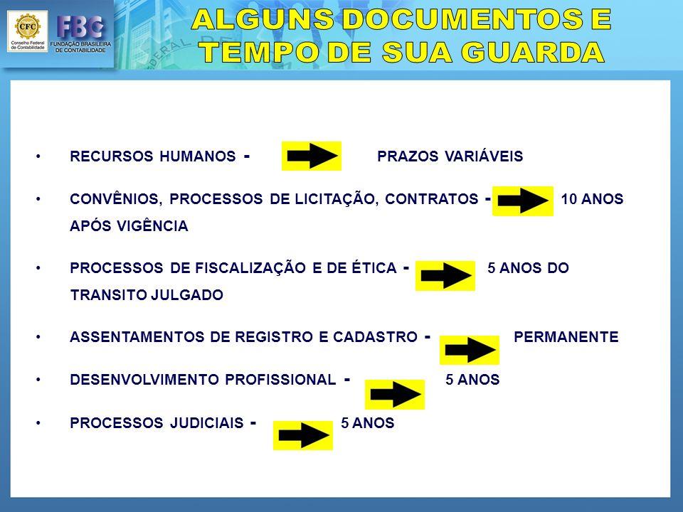 RECURSOS HUMANOS - PRAZOS VARIÁVEIS CONVÊNIOS, PROCESSOS DE LICITAÇÃO, CONTRATOS - 10 ANOS APÓS VIGÊNCIA PROCESSOS DE FISCALIZAÇÃO E DE ÉTICA - 5 ANOS DO TRANSITO JULGADO ASSENTAMENTOS DE REGISTRO E CADASTRO - PERMANENTE DESENVOLVIMENTO PROFISSIONAL - 5 ANOS PROCESSOS JUDICIAIS - 5 ANOS