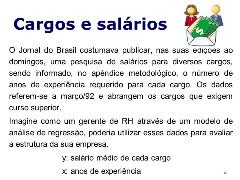 18 Cargos e salários O Jornal do Brasil costumava publicar, nas suas edições ao domingos, uma pesquisa de salários para diversos cargos, sendo informa
