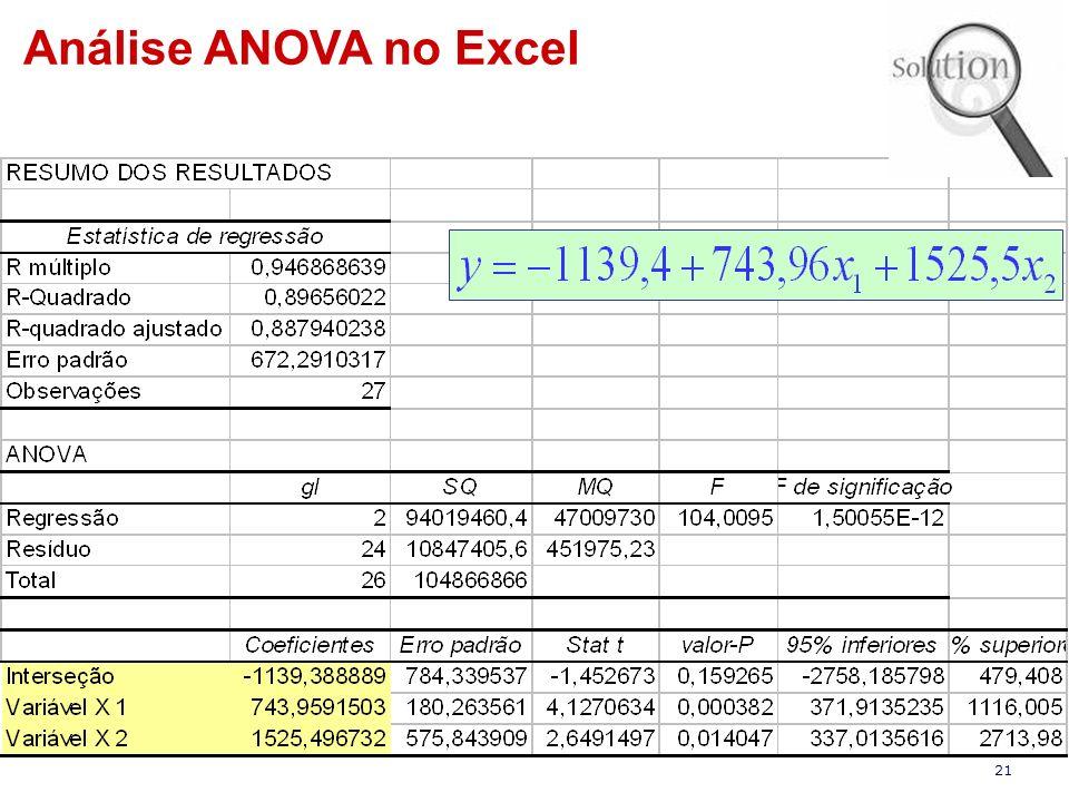 21 Análise ANOVA no Excel