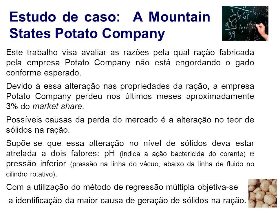 33 Estudo de caso: A Mountain States Potato Company Este trabalho visa avaliar as razões pela qual ração fabricada pela empresa Potato Company não est