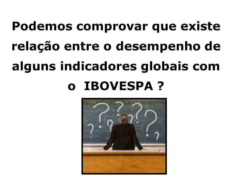 40 Podemos comprovar que existe relação entre o desempenho de alguns indicadores globais com o IBOVESPA ?