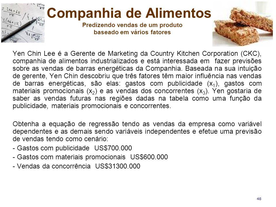 48 Yen Chin Lee é a Gerente de Marketing da Country Kitchen Corporation (CKC), companhia de alimentos industrializados e está interessada em fazer pre