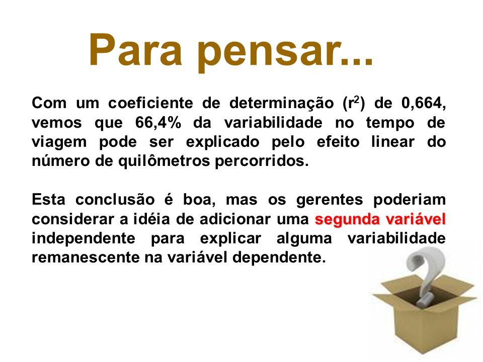 9 Com um coeficiente de determinação (r 2 ) de 0,664, vemos que 66,4% da variabilidade no tempo de viagem pode ser explicado pelo efeito linear do núm