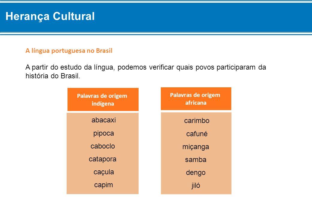 A língua portuguesa no Brasil Palavras de origem indígena Palavras de origem africana A partir do estudo da língua, podemos verificar quais povos part