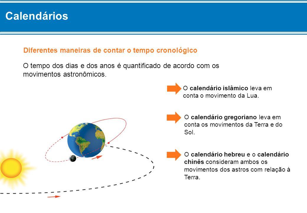 O tempo dos dias e dos anos é quantificado de acordo com os movimentos astronômicos. Diferentes maneiras de contar o tempo cronológico O calendário is