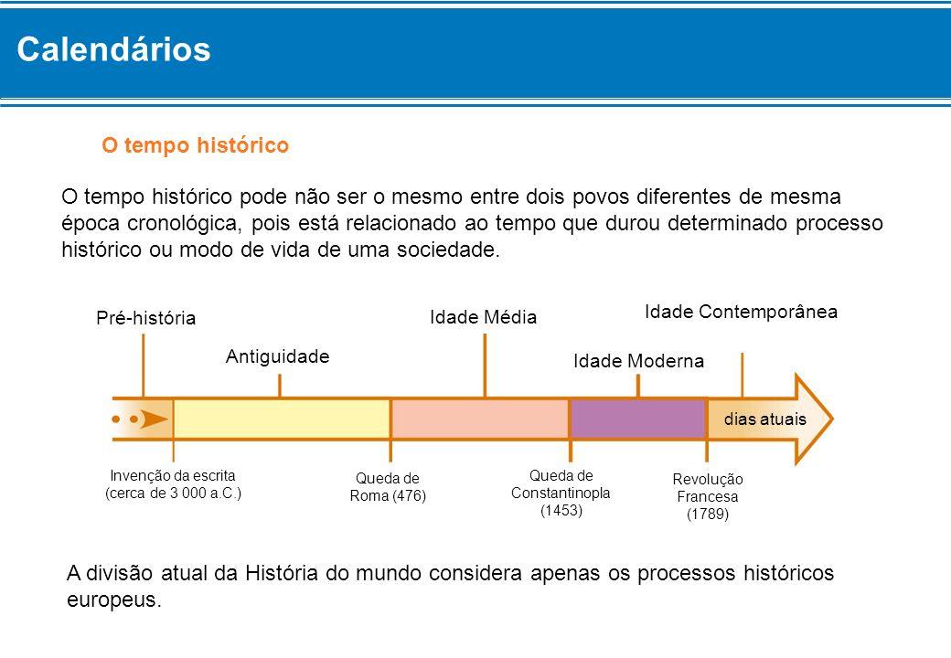 O tempo histórico O tempo histórico pode não ser o mesmo entre dois povos diferentes de mesma época cronológica, pois está relacionado ao tempo que du