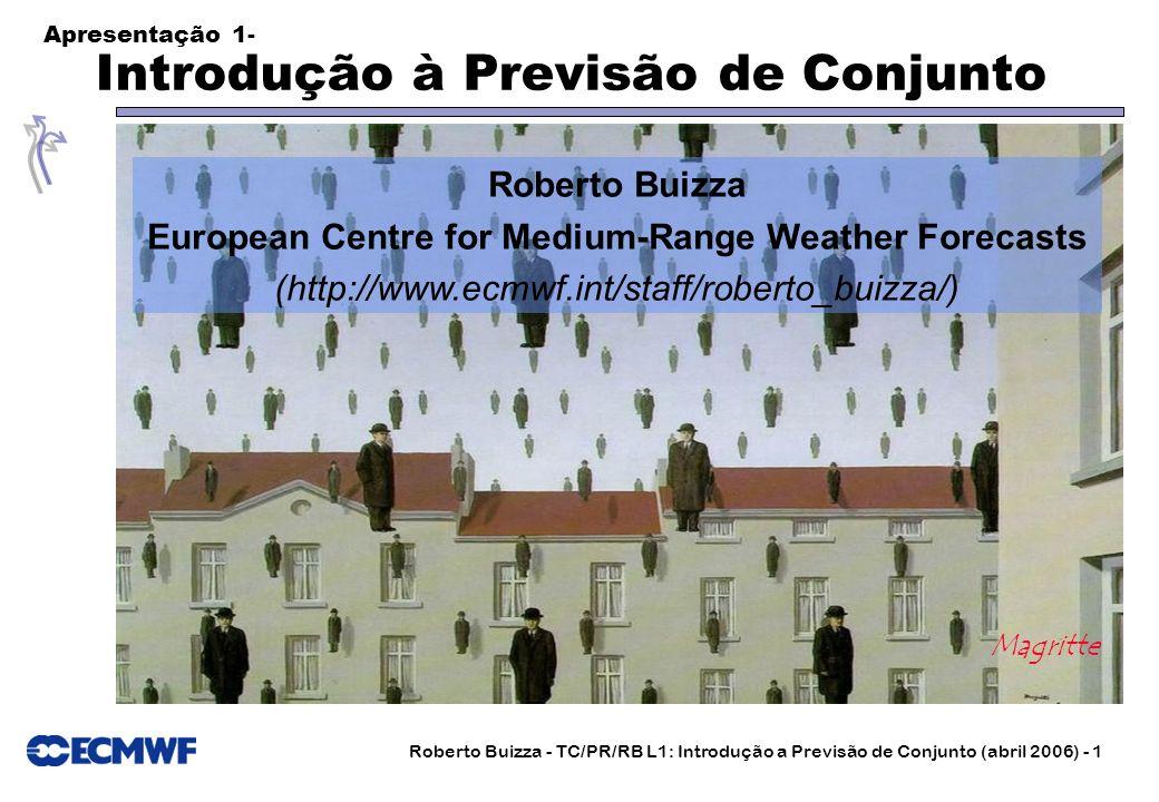 Roberto Buizza - TC/PR/RB L1: Introdução a Previsão de Conjunto (abril 2006) - 1 Apresentação 1- I ntrodução Introdução à Previsão de Conjunto Magritt
