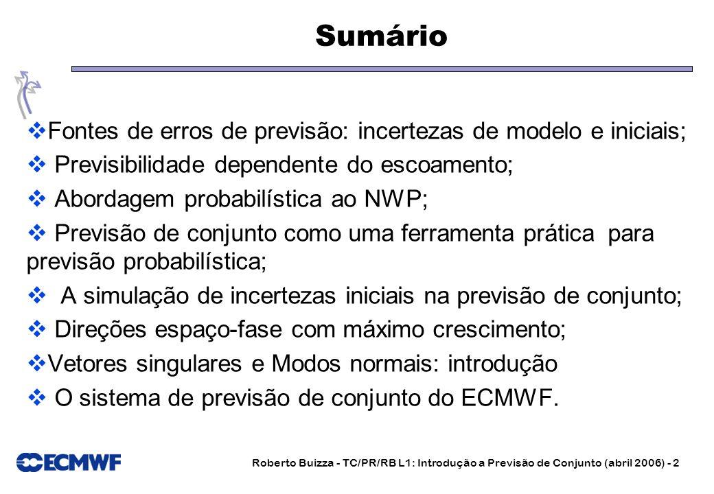 Roberto Buizza - TC/PR/RB L1: Introdução a Previsão de Conjunto (abril 2006) - 2 Sumário Fontes de erros de previsão: incertezas de modelo e iniciais;