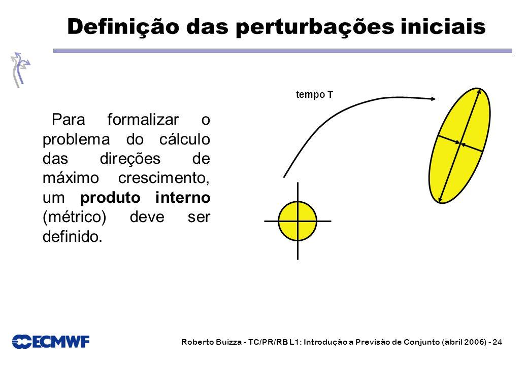 Roberto Buizza - TC/PR/RB L1: Introdução a Previsão de Conjunto (abril 2006) - 24 Definição das perturbações iniciais Para formalizar o problema do cá