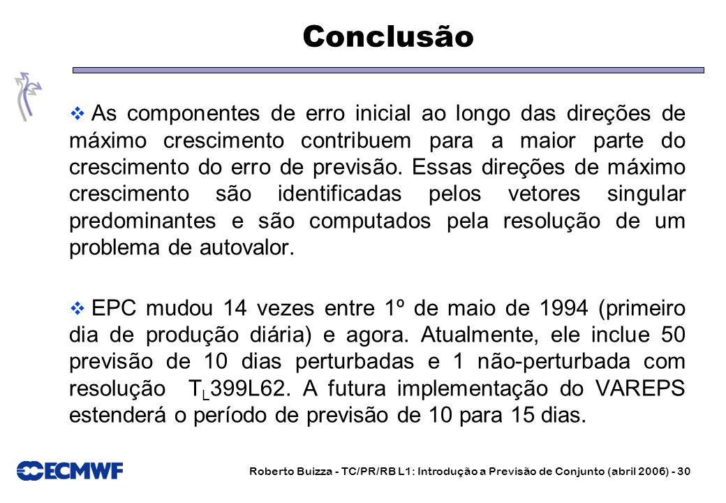 Roberto Buizza - TC/PR/RB L1: Introdução a Previsão de Conjunto (abril 2006) - 30 Conclusão As componentes de erro inicial ao longo das direções de má