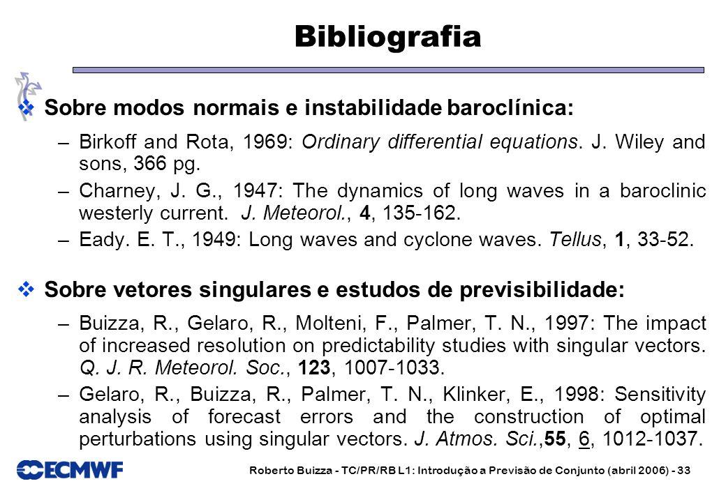 Roberto Buizza - TC/PR/RB L1: Introdução a Previsão de Conjunto (abril 2006) - 33 Bibliografia Sobre modos normais e instabilidade baroclínica: –Birko