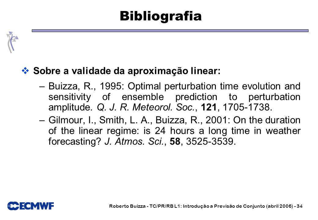 Roberto Buizza - TC/PR/RB L1: Introdução a Previsão de Conjunto (abril 2006) - 34 Bibliografia Sobre a validade da aproximação linear: –Buizza, R., 19
